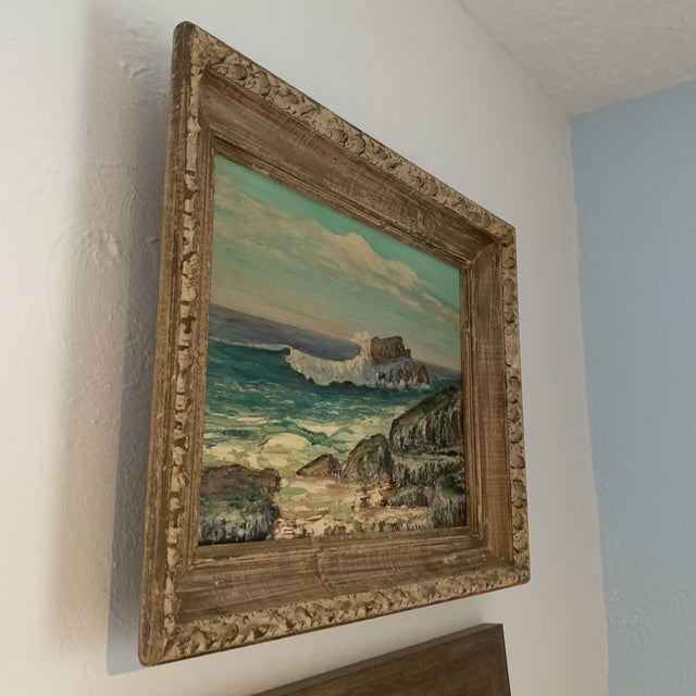 Textile 1960s Rocky Beach Seascape Oil Painting, Framed For Sale - Image 7 of 12