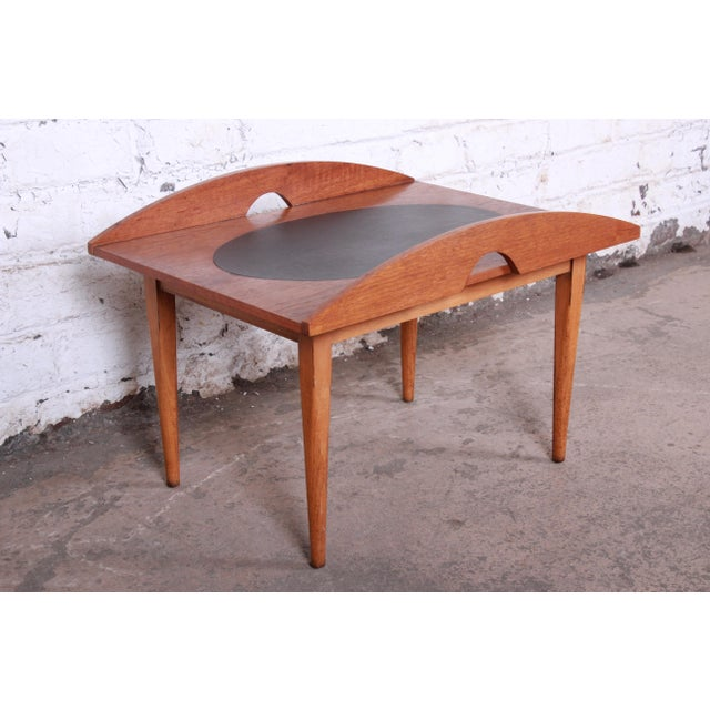 Paul McCobb for Lane Signature Collection Walnut and Leather Occasional Side Table For Sale - Image 11 of 11