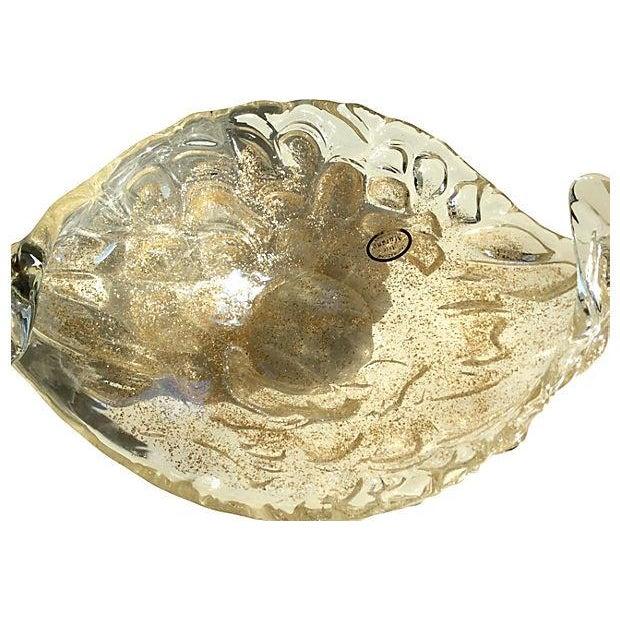 Lavorazione Arte Murano Gold Fleck Leaf Glass Bowl - Image 3 of 6