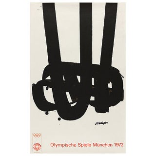 Pierre Soulages Olympic Art Framed Lithograph For Sale