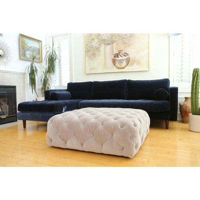 Velvet tufted Ottoman Coffee Table For Sale In Los Angeles - Image 6 of 6