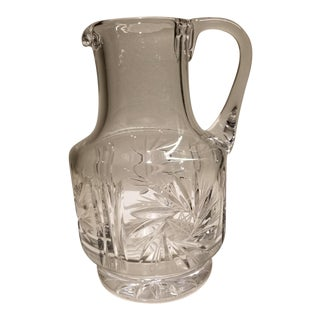 20th Century Hollywood Regency Pinwheel Crystal Pitcher For Sale