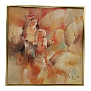 1970s Vintage Abstract Figural Painting For Sale