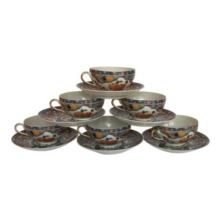 Lithopane Japanese Geisha Tea Cups & Saucers - Set of 6d