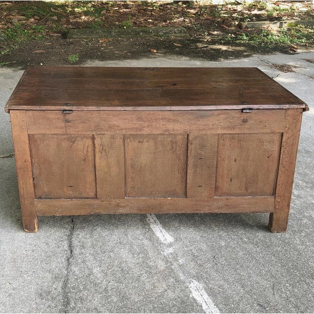 Early 19th Century Country French Rustic Oak Trunk For Sale - Image 12 of 13
