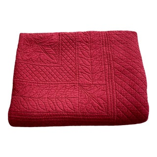 Reversible Red Cotton Coverlet For Sale