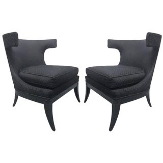 Pair of Decorative Klismos Lounge Chairs For Sale