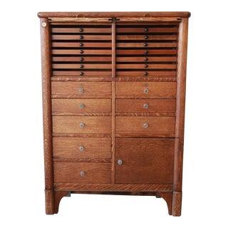 Antique Oak 22-Drawer Dental Cabinet For Sale