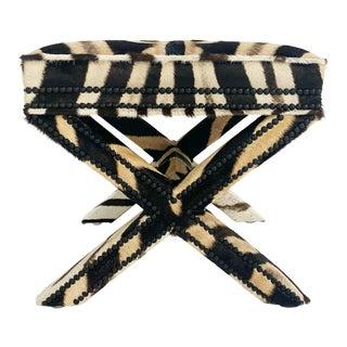X Bench in Zebra Hide For Sale