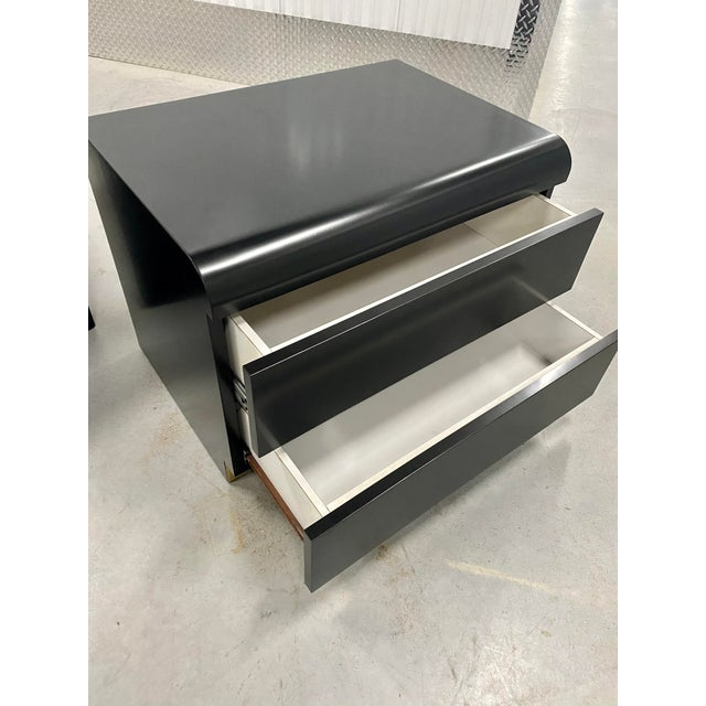 Metal Restored Black Lacquered & Brass Side Tables - a Pair For Sale - Image 7 of 8