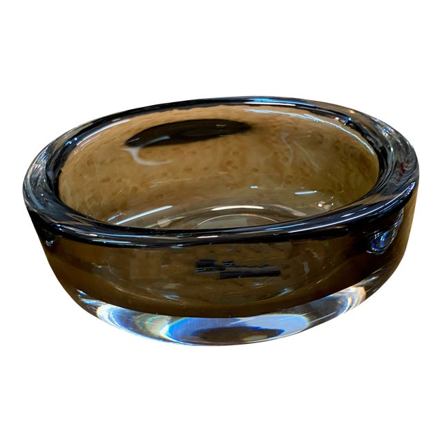 Mid 20th Century Oval Orrefors Smoked Glass Signed Bowl For Sale