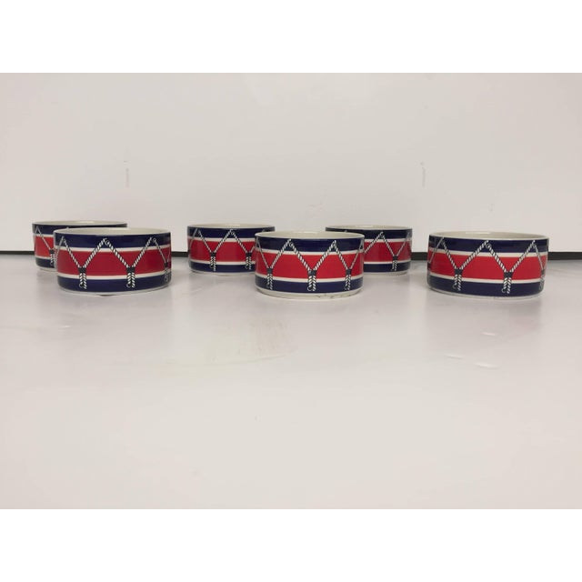 Red White and Blue Mancioli Drum Motiffe Dinnerware For Sale - Image 4 of 11