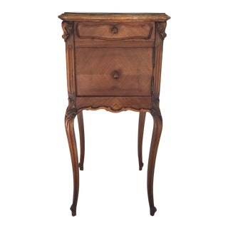Louis XV Style Parquetry and Carved Walnut Nightstand For Sale