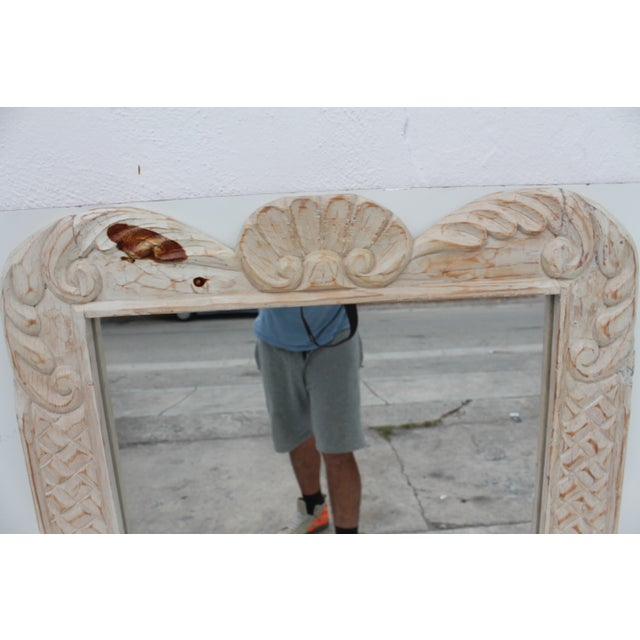 Hollywood Regency Hand Carved Wall Mirror For Sale - Image 4 of 10