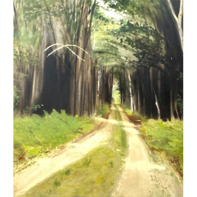Susan Hambleton, American 20th C. This is a fine oil on board painting depicting a forest and a country road. It is...
