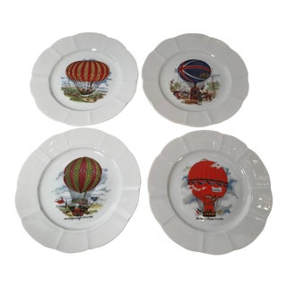 French Fine China Balloon Plates - Set of 4 For Sale