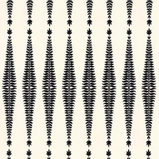 Sample - Schumacher Fern Tree Wallpaper in Noir For Sale