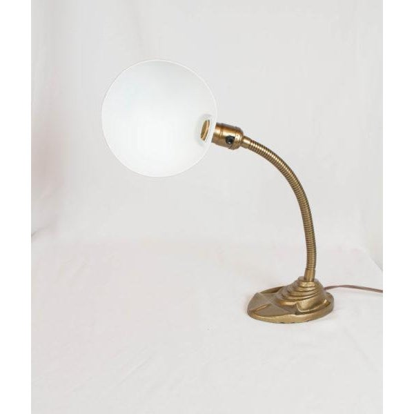 Gooseneck desk lamp. American, C.1920. Completely restored. Painted and rewired.