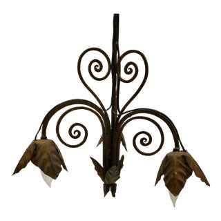 French Wrought Iron Petal Design Chandelier For Sale