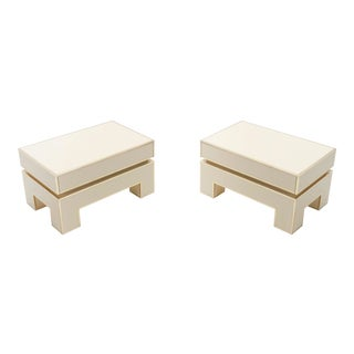 Alain Delon for Maison Jansen White Lacquer Brass End Tables - a Pair For Sale