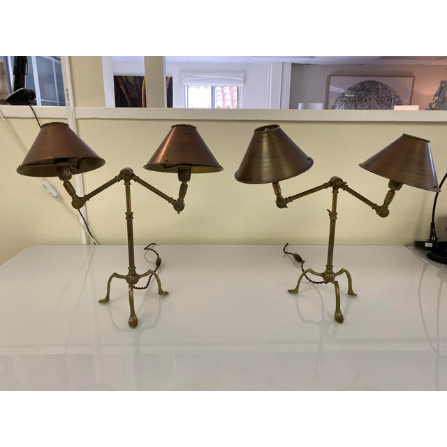 Gold Ferrante Articulating Table Lamps With Shades - a Pair For Sale - Image 8 of 8
