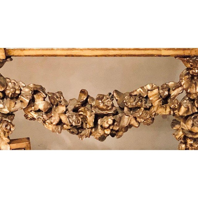 Louis XV Style Giltwood Marble-Top Console, Hall or Center Table For Sale - Image 10 of 13