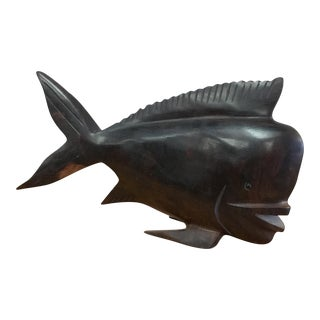 Vintage Dark Teak Wooden Carved Fish