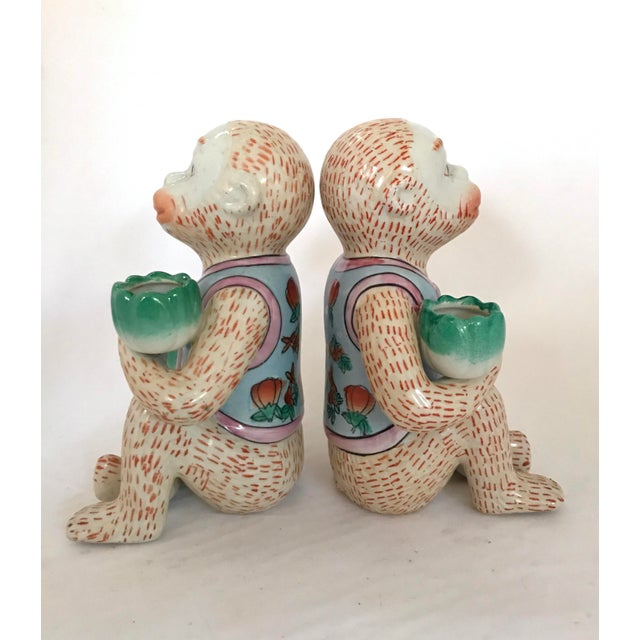 Vintage Chinese Ceramic Monkey Gardener Seated - a Pair For Sale - Image 4 of 11