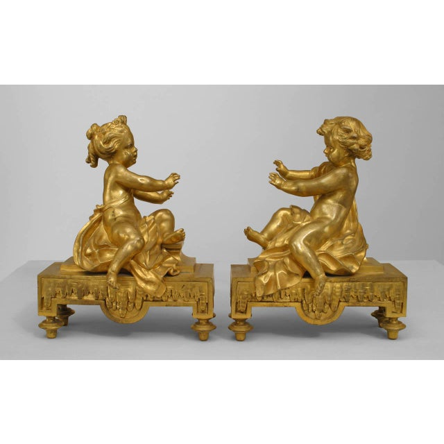 Pair of 19th Century French Gilt Bronze Putti Andirons For Sale In New York - Image 6 of 6