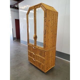 Vintage Bamboo Mirrored Armoire Preview