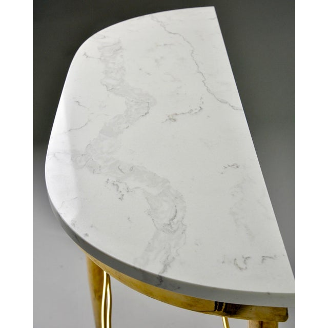 Mid Century Italian Brass Demilune Console With White Marble Top For Sale - Image 11 of 12