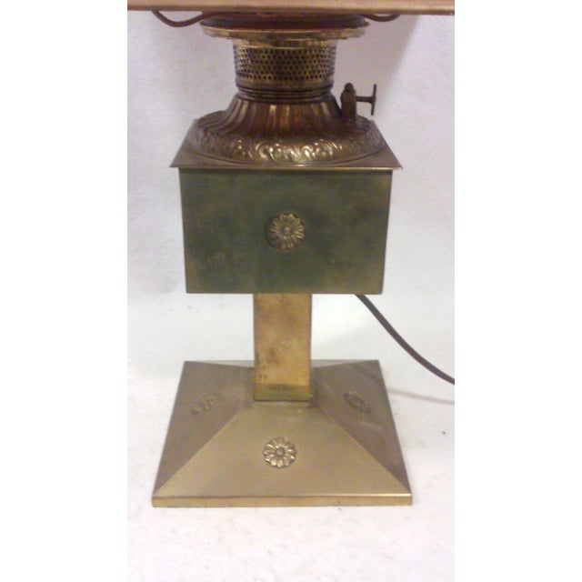 Arts & Crafts Antique Style Brass and Pink Slag Glass Lamp For Sale - Image 3 of 11