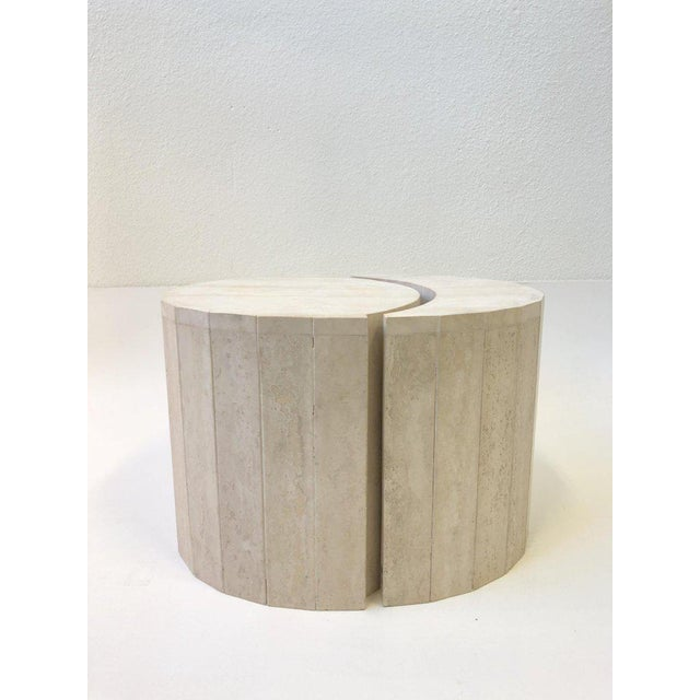 Glass Oval Italian Travertine Cocktail Table by Willy Rizzo For Sale - Image 7 of 11