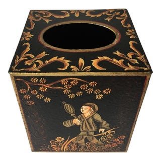 Tole Chinoiserie Tissue Box Cover-Maitland-Smith For Sale