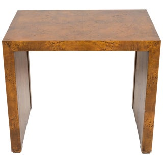 1970s Burled Wood Side Table For Sale
