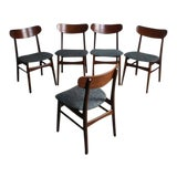 Image of Teak Danish Modern Dining Chairs - Set of 5 For Sale