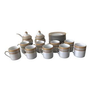 Porcelain Demitasse Set Yamassen Gold With 24k Trim - 22 Piece Set For Sale