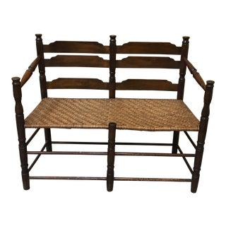 Late 19th Century Antique Hickory Rattan Bench For Sale