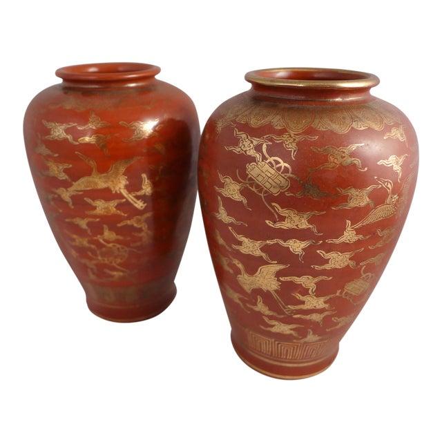 Japanese Kutani Eiraku Red Gold Kinrande Porcelain Vases - aPair For Sale