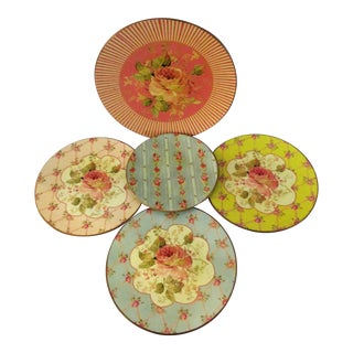 French Country Floral Display Plates - Set of 5 For Sale