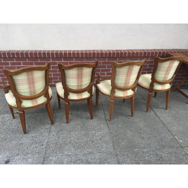 Carved Neoclassic Dining Chairs with Silk Upholstery set of 4 For Sale - Image 5 of 9