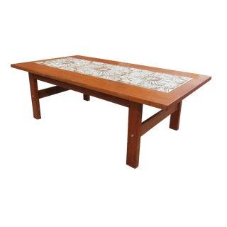 1960s Mid-Century Modern Danish Tile Top Teak Coffee Table For Sale