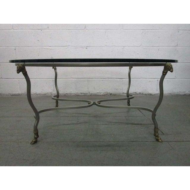 Italian Italian Steel & Brass Coffee Table w/ Ram's Head For Sale - Image 3 of 7