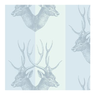 "Mitchell Black ""Stag"" Blue Wallpaper Remnant For Sale"