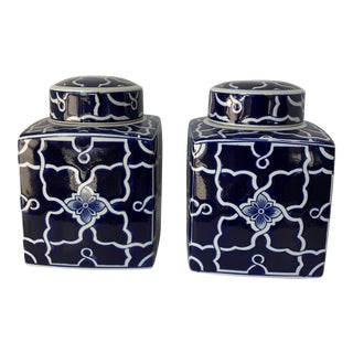Contemporary Chinese Blue & White Lidded Cannisters- a Pair For Sale