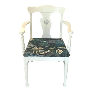1920s Robert Allen Upholstery White Chinoiserie Armchair For Sale