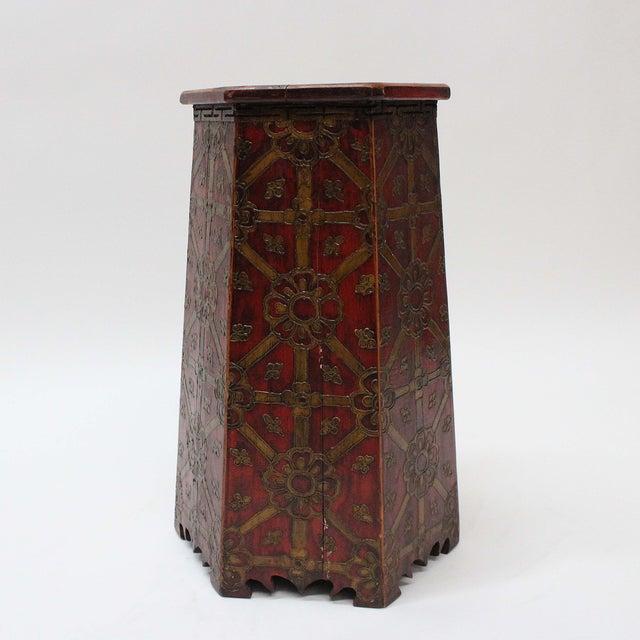Vintage Hand Painted Tibetan Octagonal Side Table - Image 3 of 6