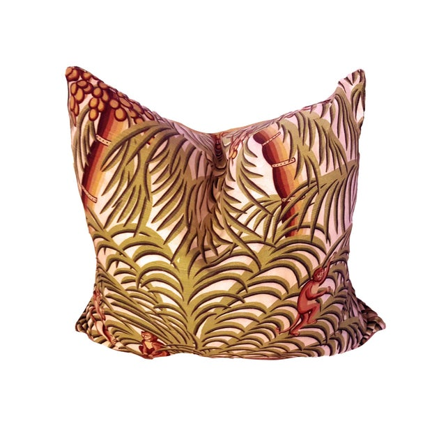 1970s Boho Chic Tropical Jungle Print Brushed Canvas Pillow Covers - Set of 3 For Sale In Palm Springs - Image 6 of 12