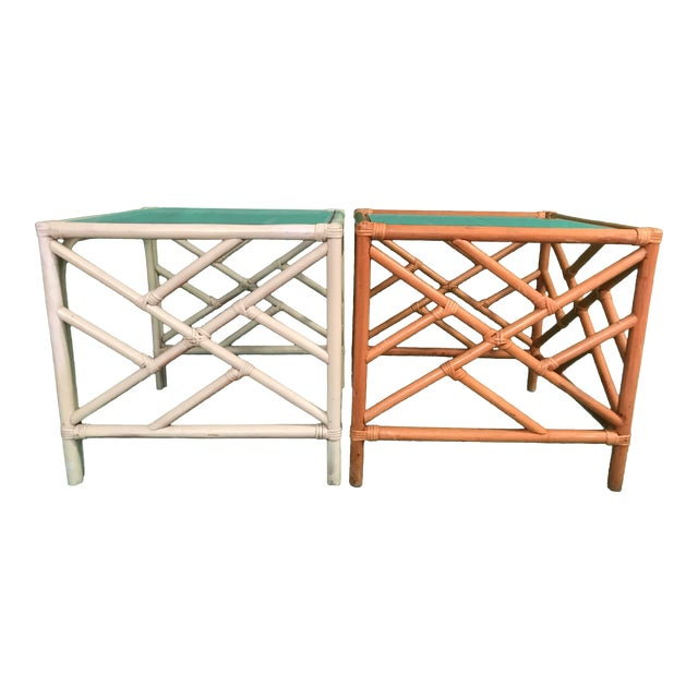 20th Century Chinese Chippendale Rattan Side Tables With Clear Glass Top - a Pair For Sale