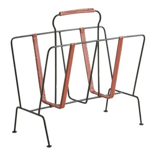 Iron and Leather Magazine Rack in the Style of Jacques Adnet For Sale